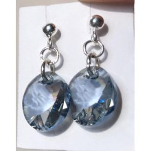 Boucles d'oreilles puce argent 925 perles Swarovski crystal blue shade